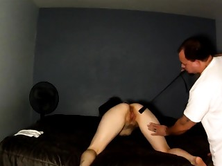 Naughty brunette with a lovely ass gets spanked and fucked