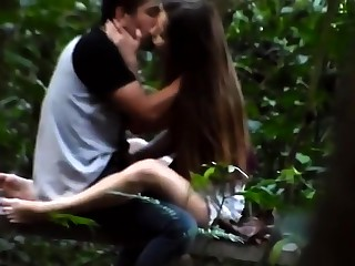 Sweet brunette girlfriend delivers a handjob in the outdoors