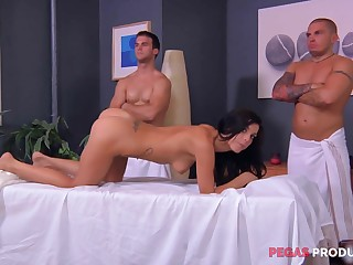 Rough massage and a ensemble bang for an oiled up brunette Roxy Lane