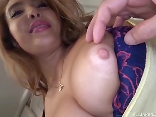 Tow-headed Asian MILF solo model strips and masturbates in the matter of toys