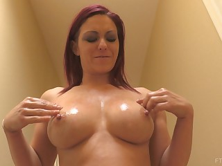 Oiled take redhead MILF SarahB plays fro her big tits in public