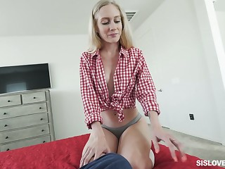 Stepsister Emma Starletto shows will not hear of peachy pussy added to gives until now POV blowjob