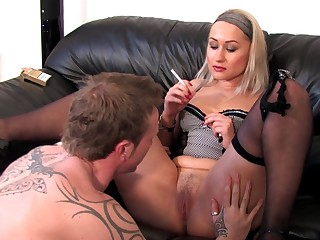 Blonde MILF smoking added to having sex