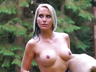 Blue eyed milf tries odd sexual pleasures close by the outdoor