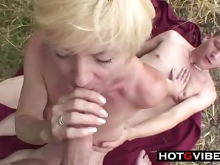 Nephews Skulk Grandma Away For A 3Some Sex - ANALDIN