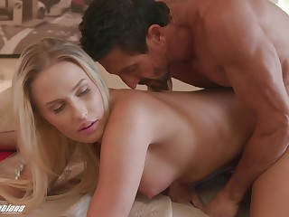 Perfect blonde slut Layla Love sucks dick and gets missionary fucked