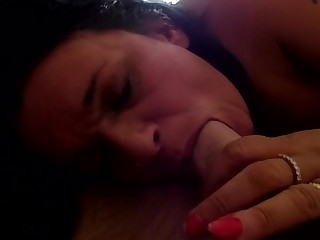 British Gilf Loves Sucking and Gagging on a Obese Cock