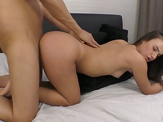 Nicely shaped sweetheart Lana Roy gives a splendid BJ and deserves doggy