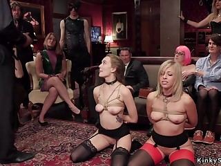 Blond in bondage gets 2 dicks in one chick pound