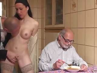 stranger fuck a girl in front of age-old man cuckold for money