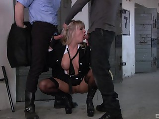 Milf to hand work enjoys hard sex with two dudes