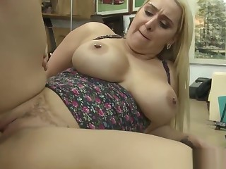 Dicksucking pawnee milf banged out of reach of the desk