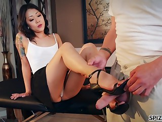 Nude Korean Saya Song gives a footjob and blowjob relative to clothed married impoverish