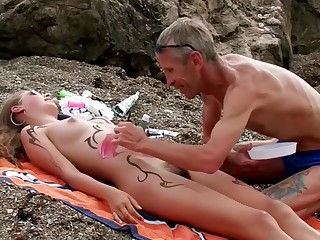 Girls on the Beach with Hairy Pussy. Decoration 1