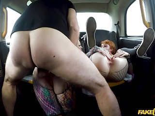 Back seat anal fun for two women in heats