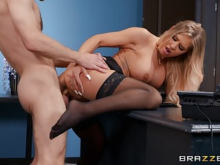 Young lad fucks the hot secretary and makes her swallow