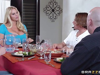Massive tits mature Karen Fisher pleasures a guy regarding the kitchen