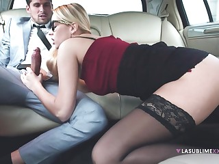 Horny hotshot makes his secretary suck his dick in the limo - Nikki Dream