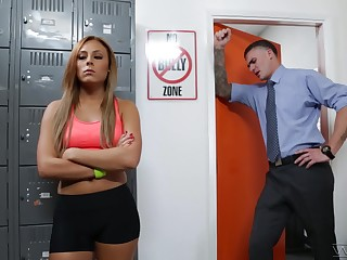 Red haired student Gianna Nicole is fucked away from hot coach in his office