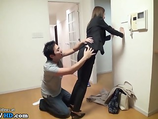 japanese house agent enduring sex intercourse at work - 18-year-old