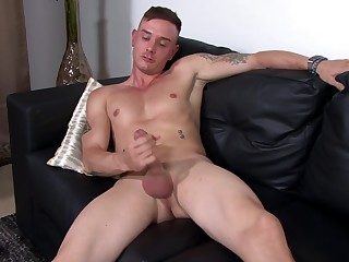 Buzzcut jock soldier stroking his stiff shaft