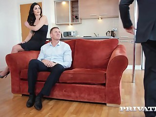 Enticing brunette, Loren Minardi is sucking cock while getting fucked from behind, at get under one's same time