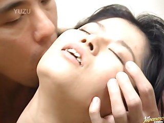 Prudish Pussy Japanese wife Miku moans while getting fucked