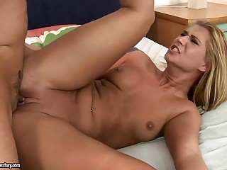 Gorgeous light-complexioned is giving a blowjob to a bald man, while his wife is at one's disposal portray