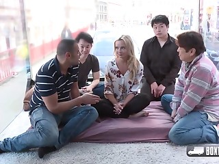 Horny blonde girl, Victoria Totalitarian is about to have a foursome with three random guys