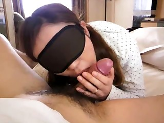 This blindfolded Japanese cocksucker is adept like become successful old bag should be