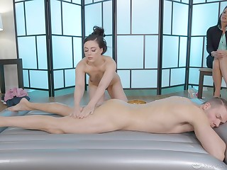 Massage leads the young masseuse approximately gather load of shit in her mouth