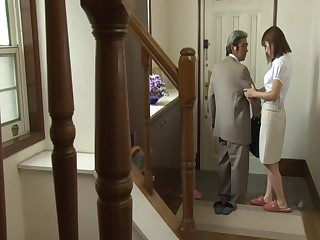 Old guy enjoys having it away his younger wife Riko Honda - compilation