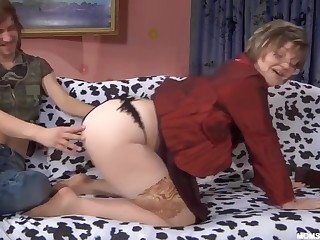 Russian Mature in undress stockings with lassie