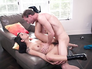 Slim brunette works magic with her flimsy cunt increased by those lips