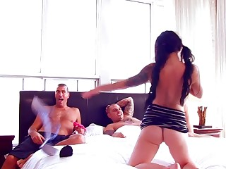 Passionate MMF threesome with double penetration for Rebecca Jolie