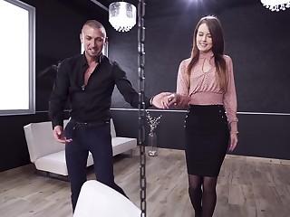 Elegant chick close to slim forms, dirty anal sex alongside kinky play