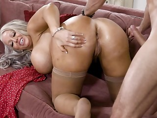 Alura Jenson's asshole is being filled with a firm flannel on the chaise longue